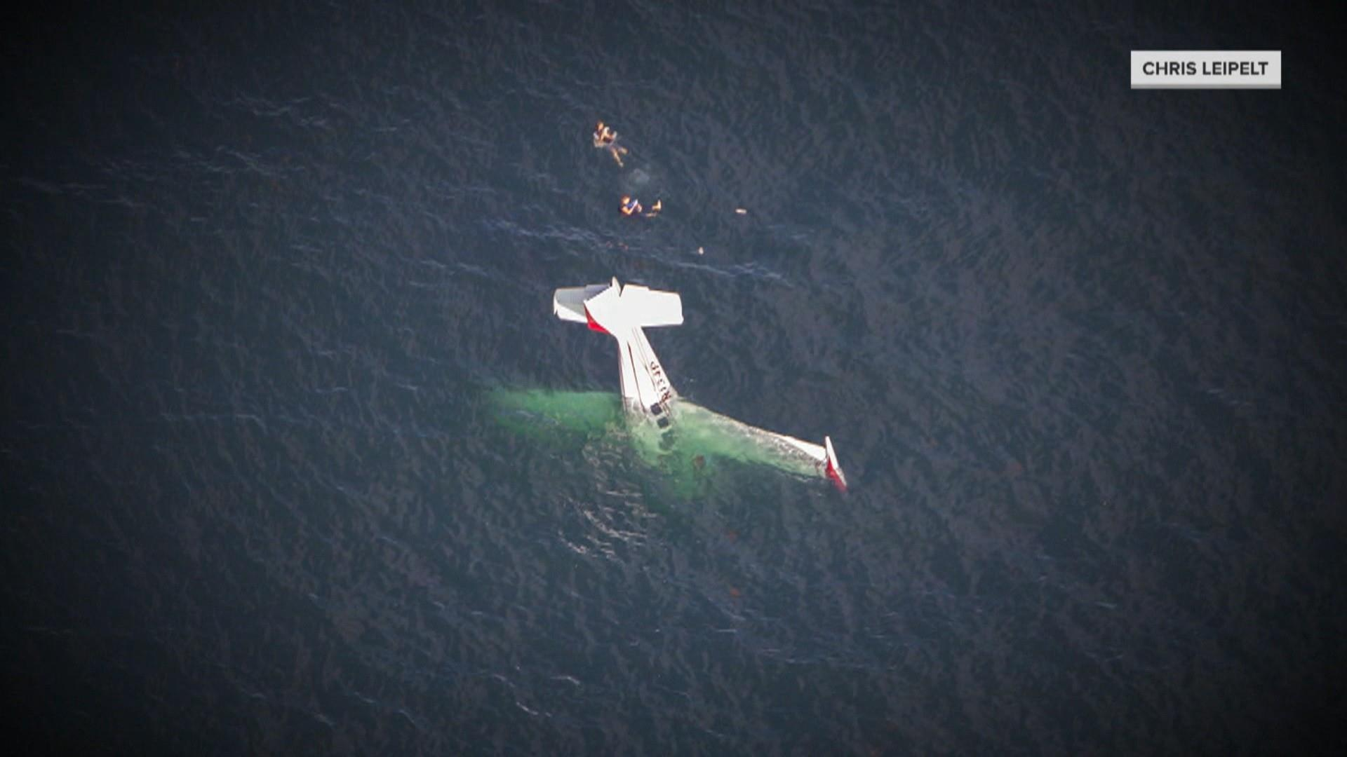 Plane crash into California ocean was no stunt, pilot who filmed aftermath from water says