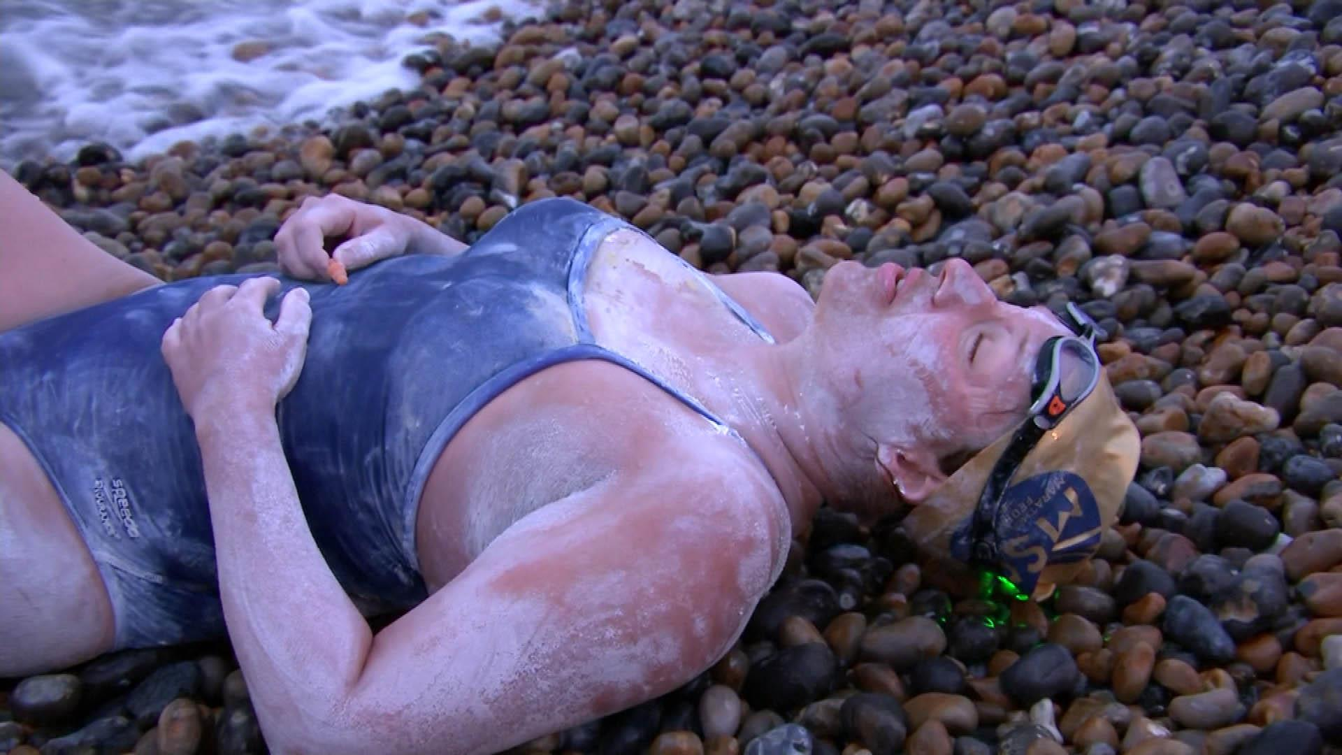 American cancer survivor is first to swim the English Channel four times non-stop