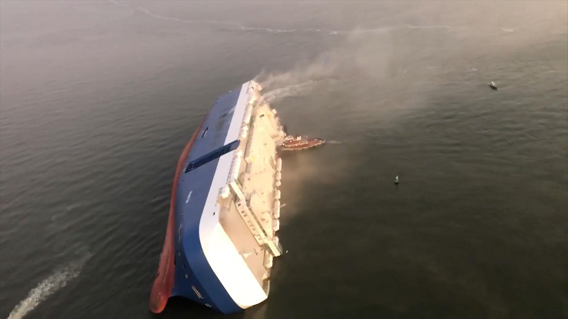 Video Shows Capsized Cargo Ship Near Georgia Coast