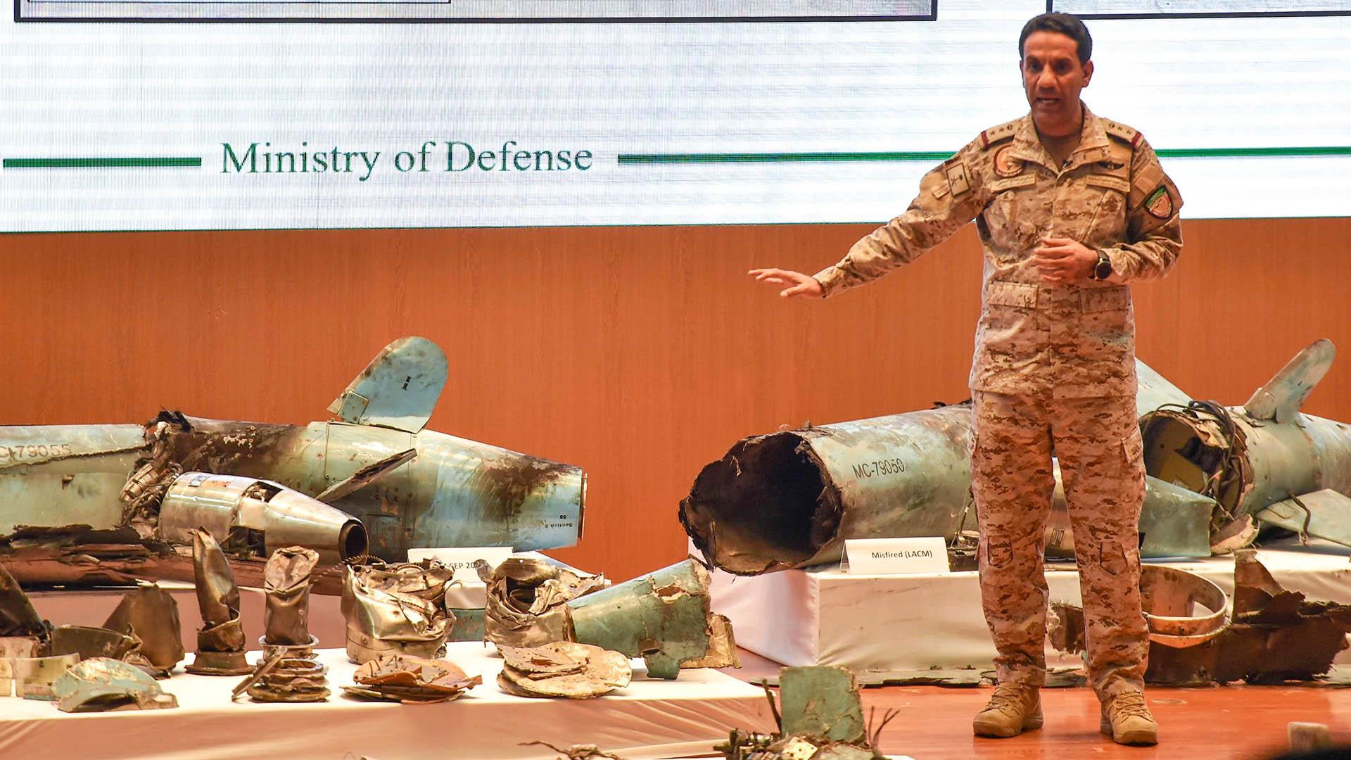 Saudi Arabia shows drone and missile wreckage, blames Iran for oil facility attacks