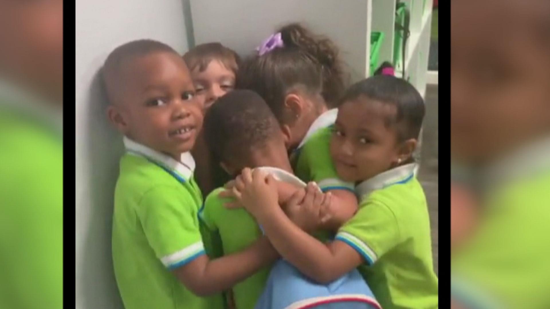 Viral video shows Florida students hugging Hurricane Dorian survivor as he fights back tears