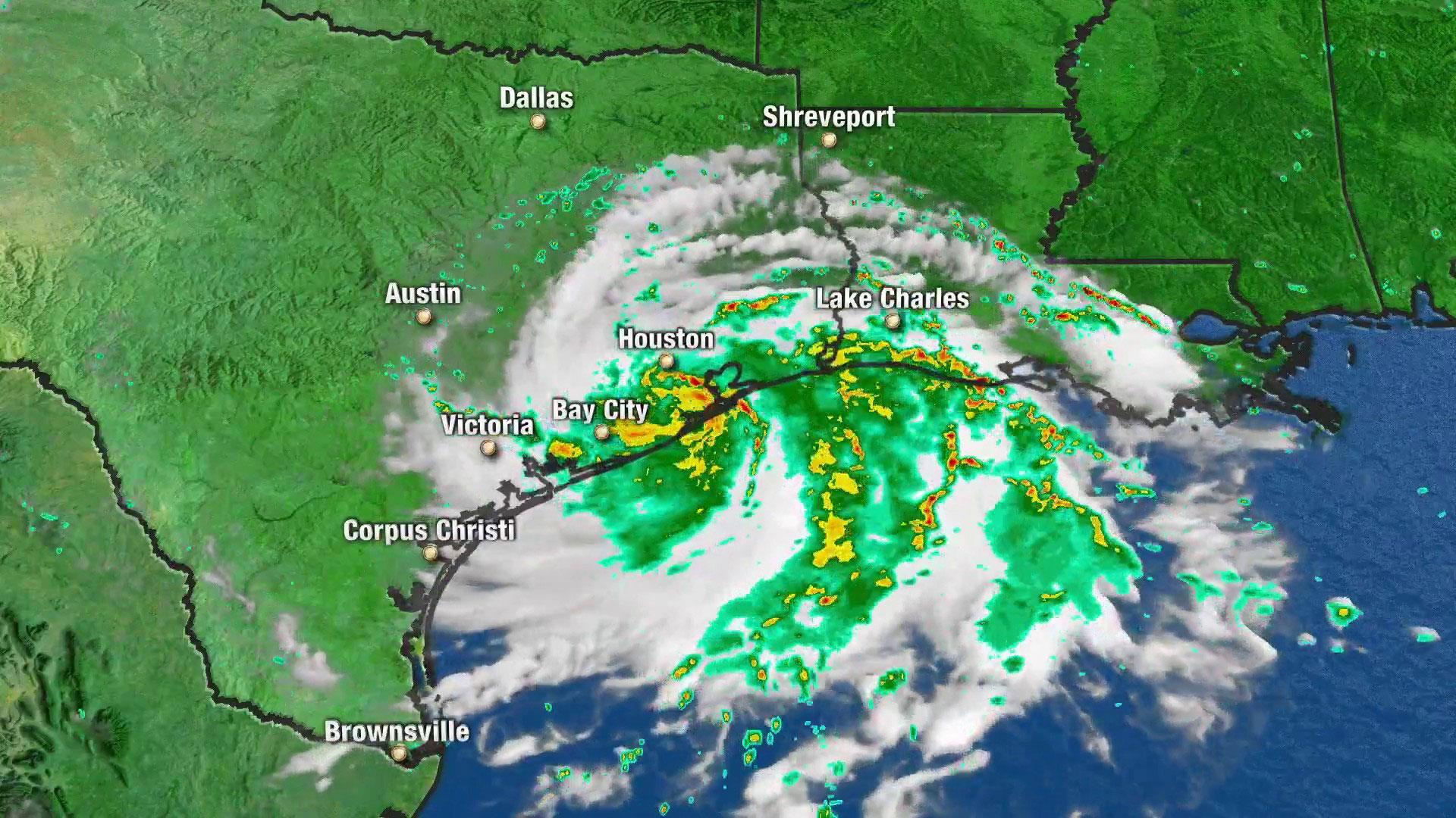 Imelda begins dumping rain on Texas as Hurricane Humberto is upgraded to Category 3