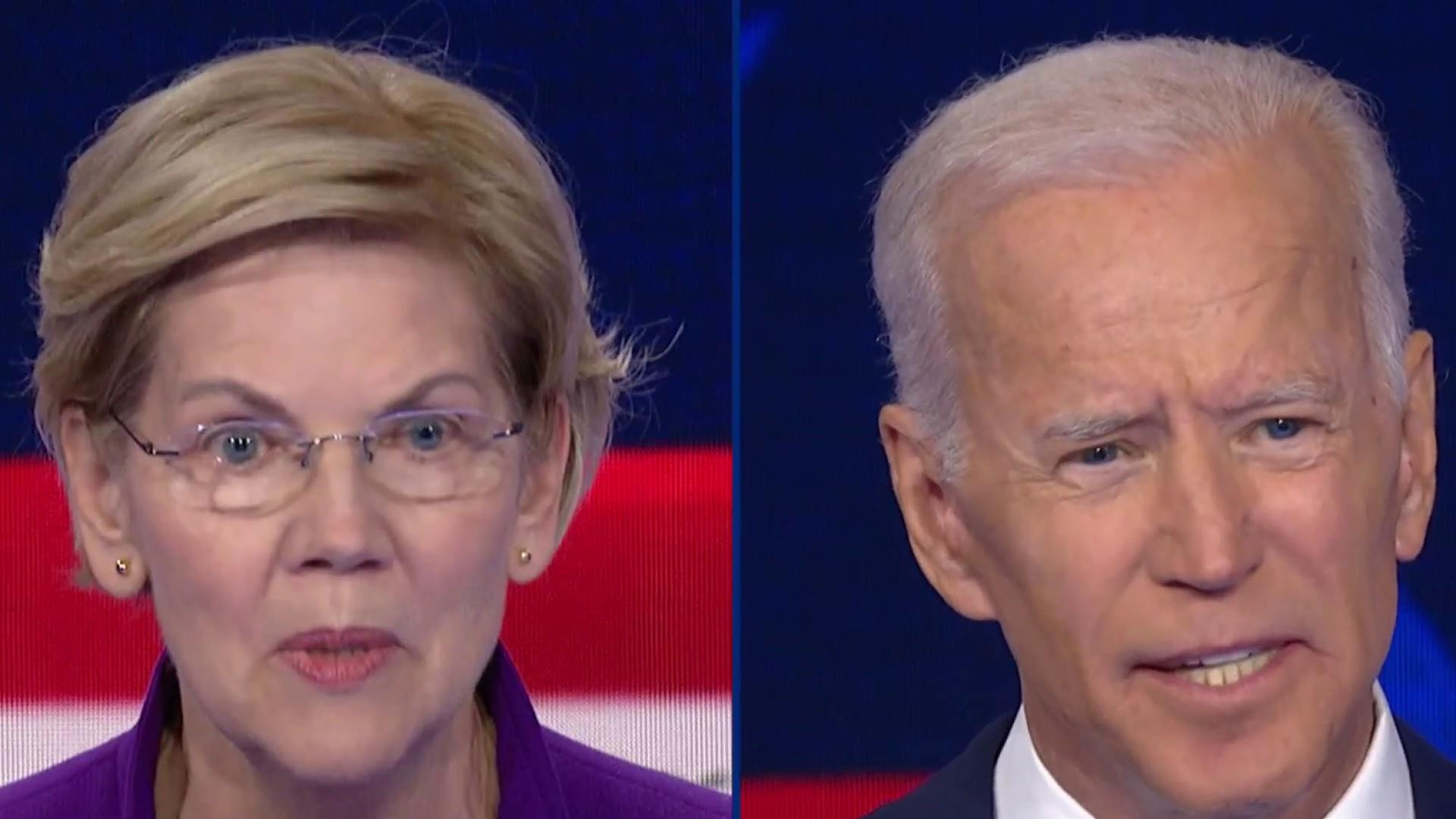 Warren takes on Biden for the first time in Dem Debate