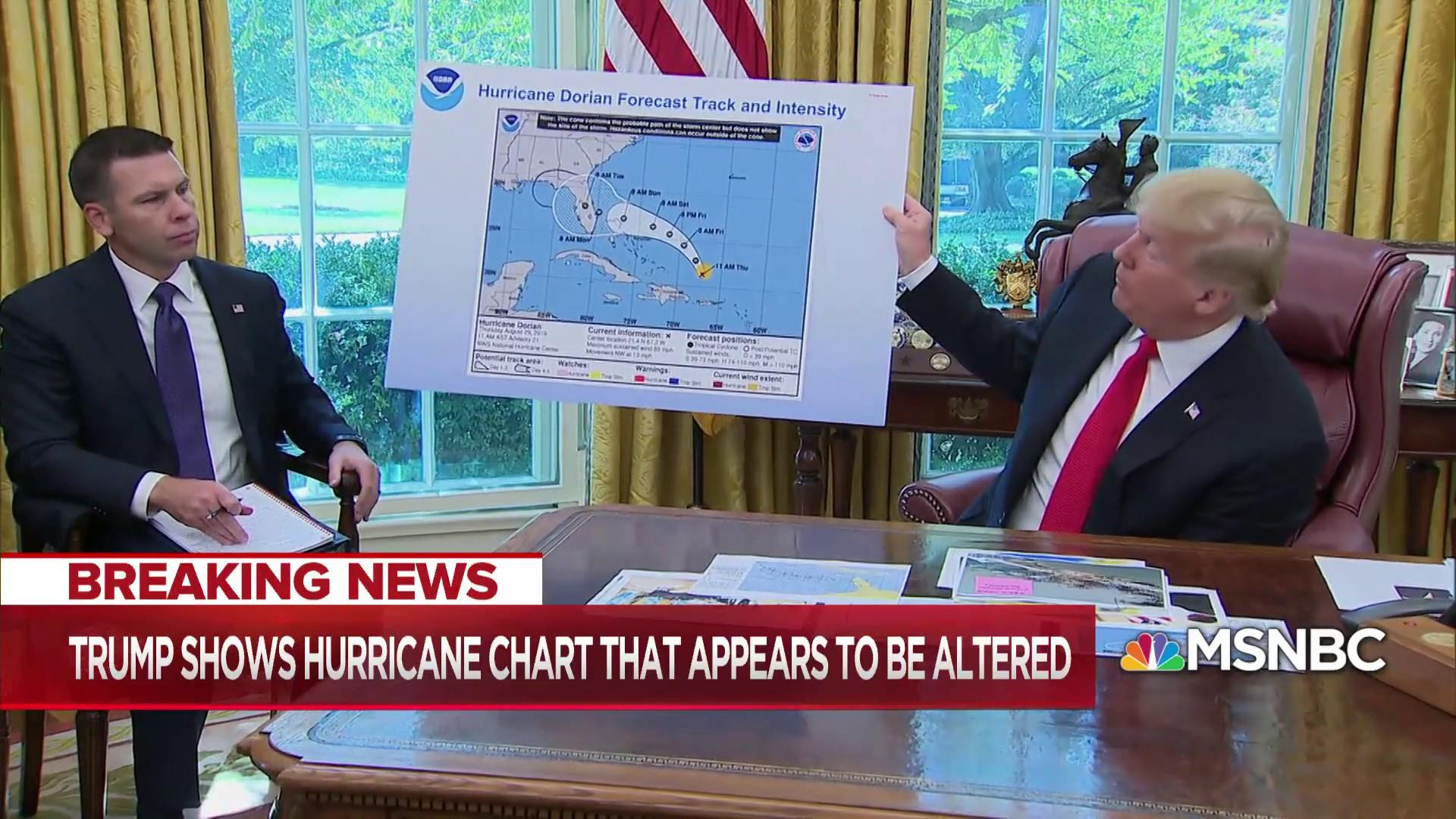 President Trump shows Sharpie-marked Hurricane Dorian map to back-up false claim about Alabama