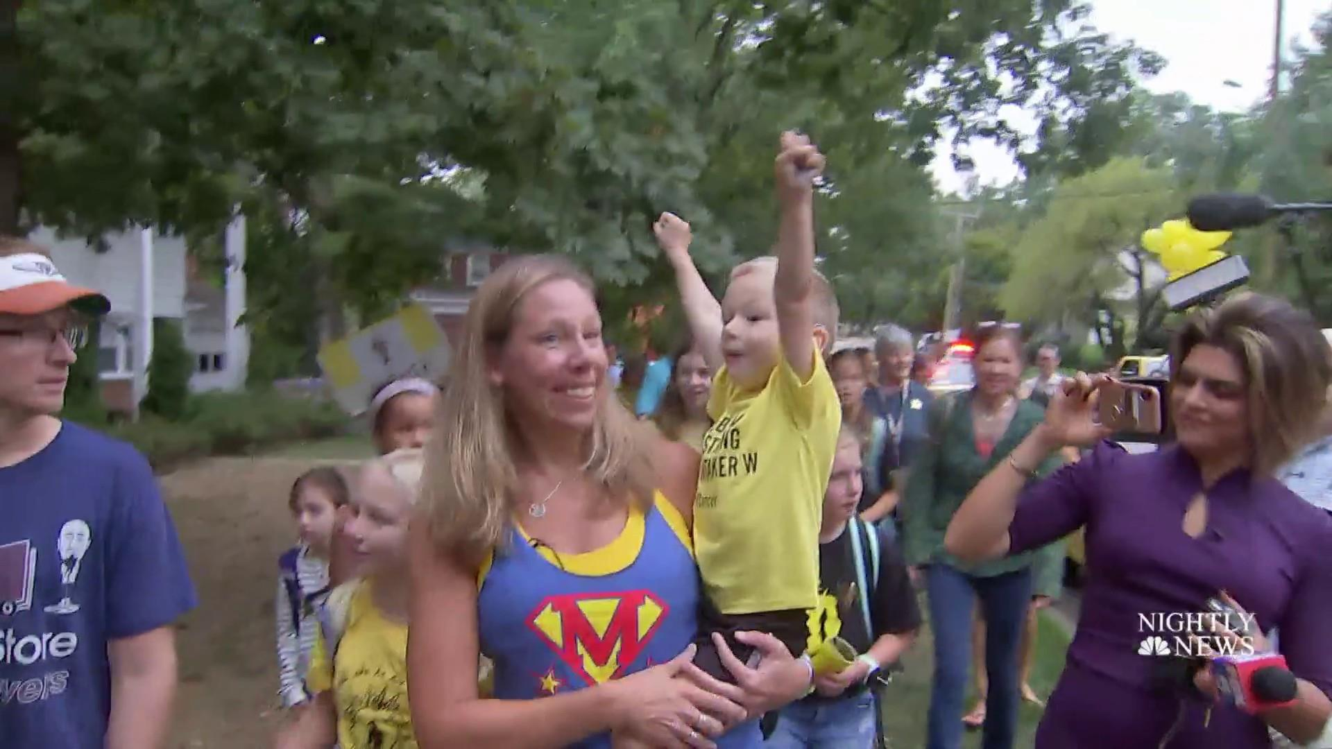 Yellow cars fill street at Bumblebee birthday party for 4-year-old cancer patient