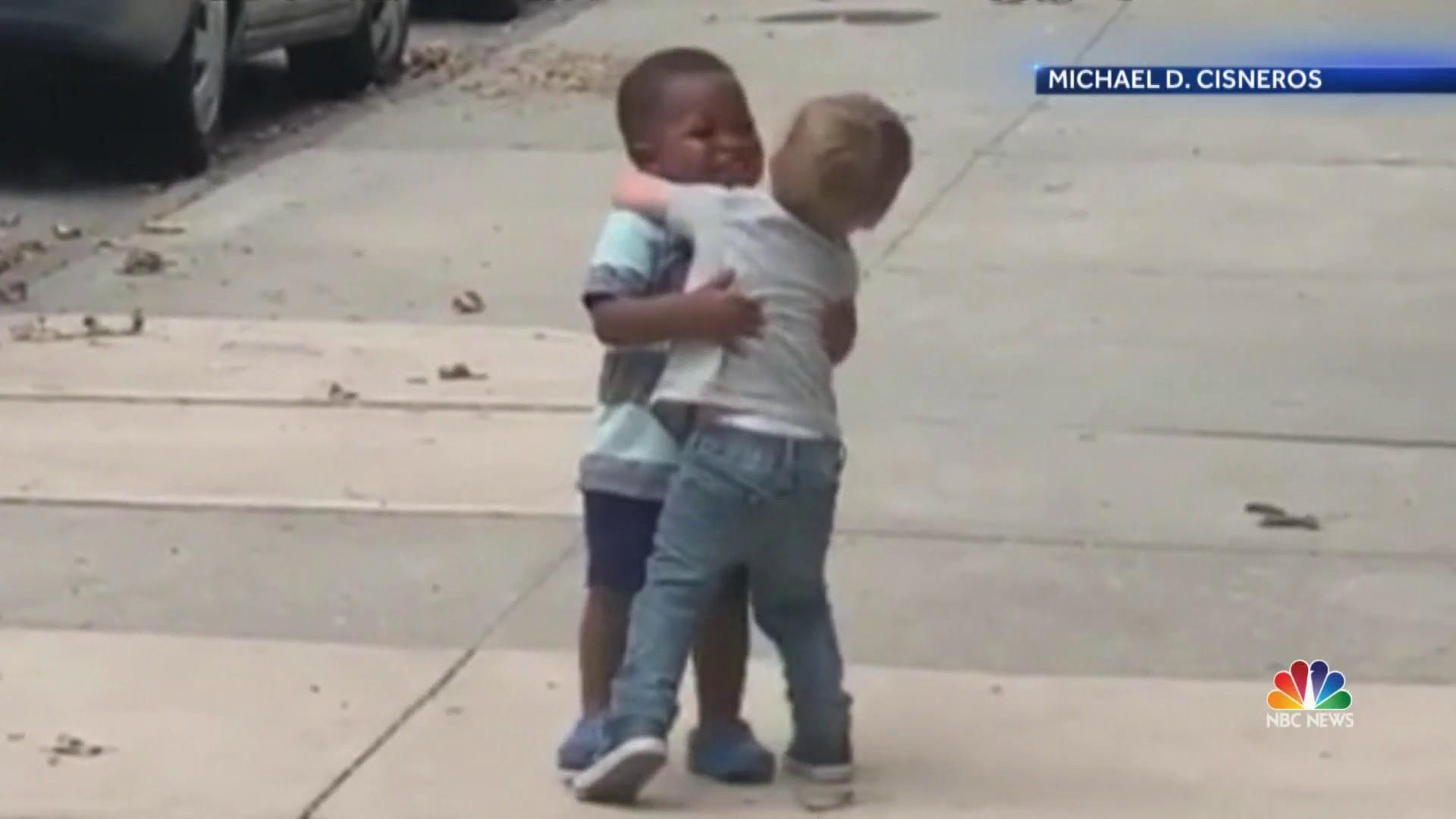 Sweet video of toddlers hugging goes viral