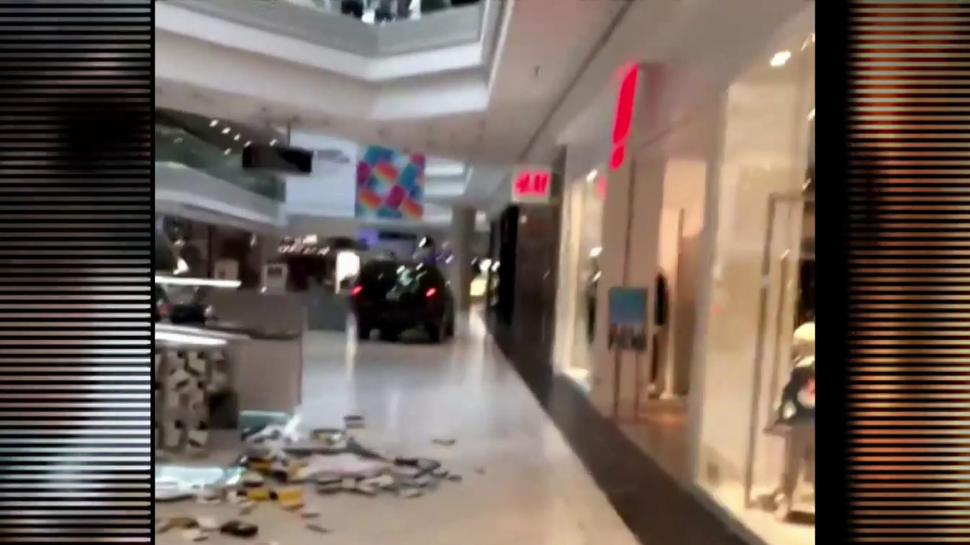 SUV drives through Woodfield Mall in suburban Chicago