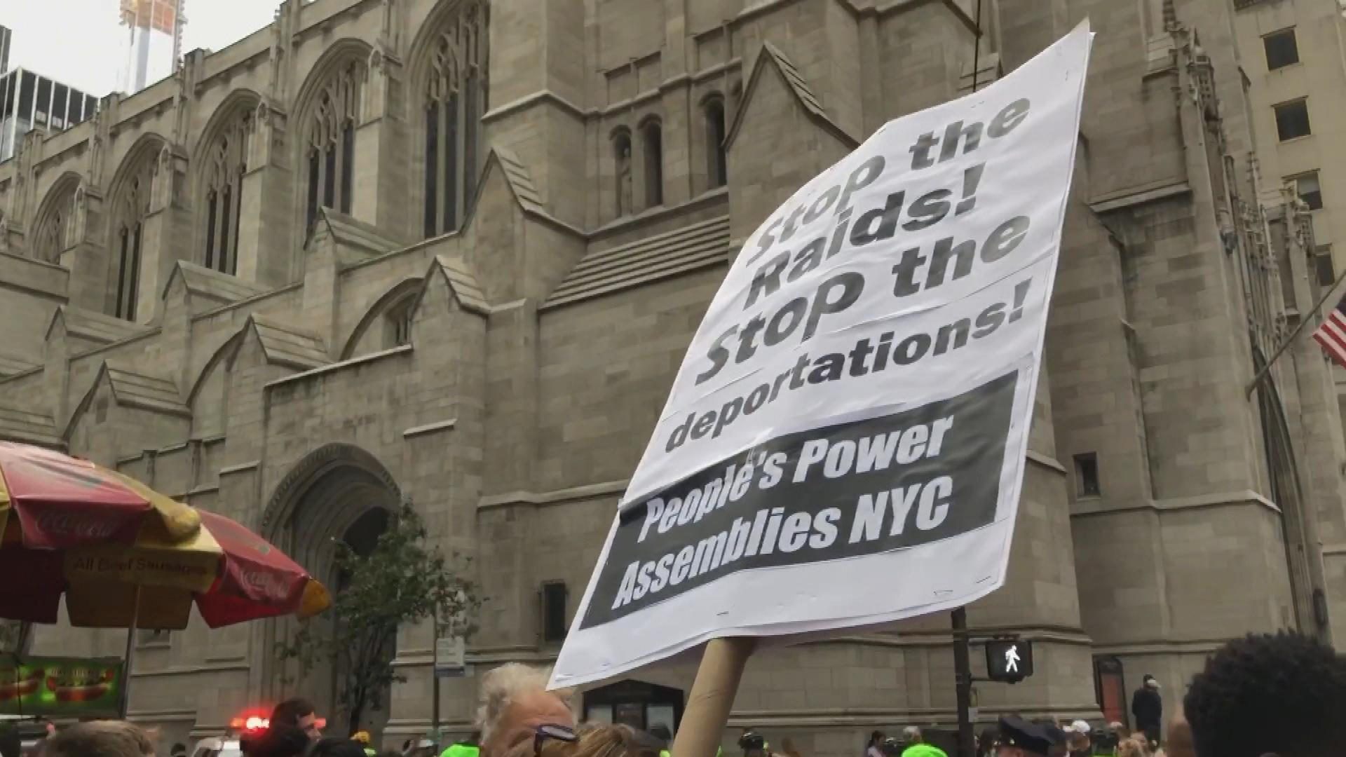 Protesters gather on 5th Avenue to oppose businesses working with ICE