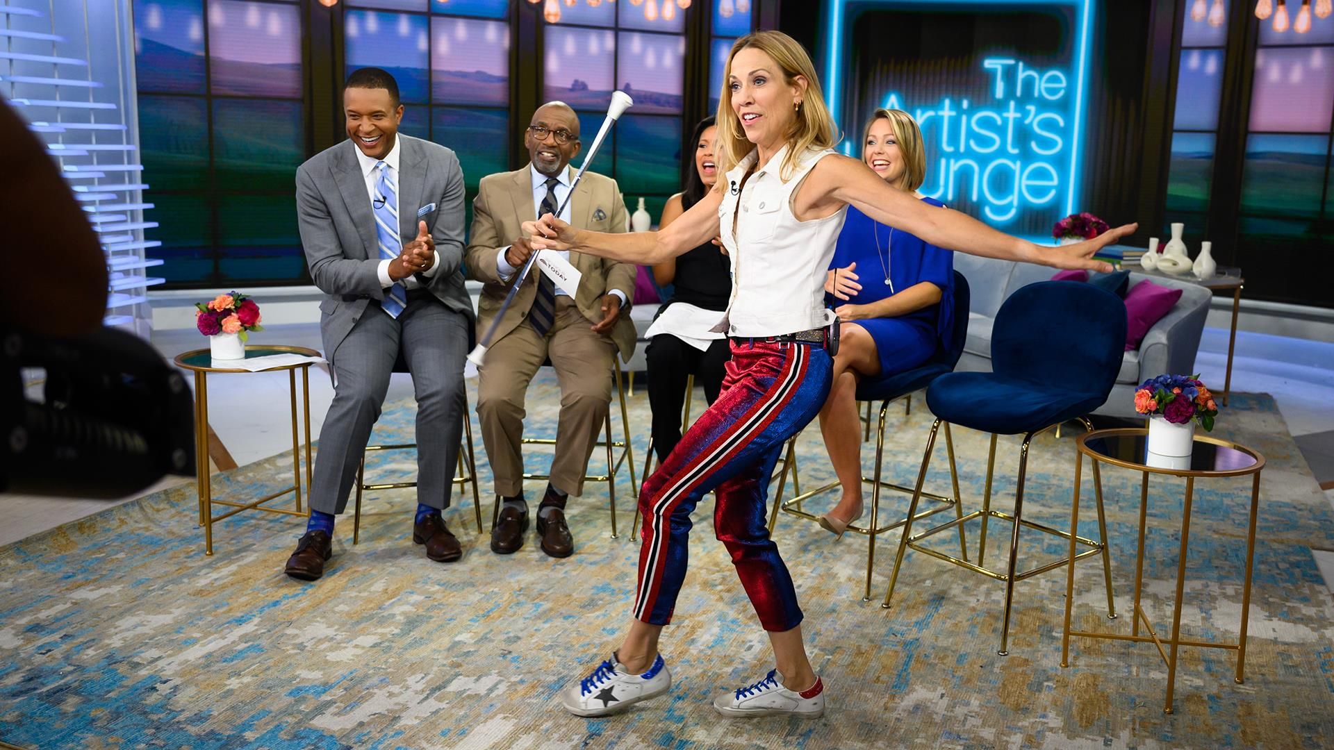Sheryl Crow shows off her baton twirling skills