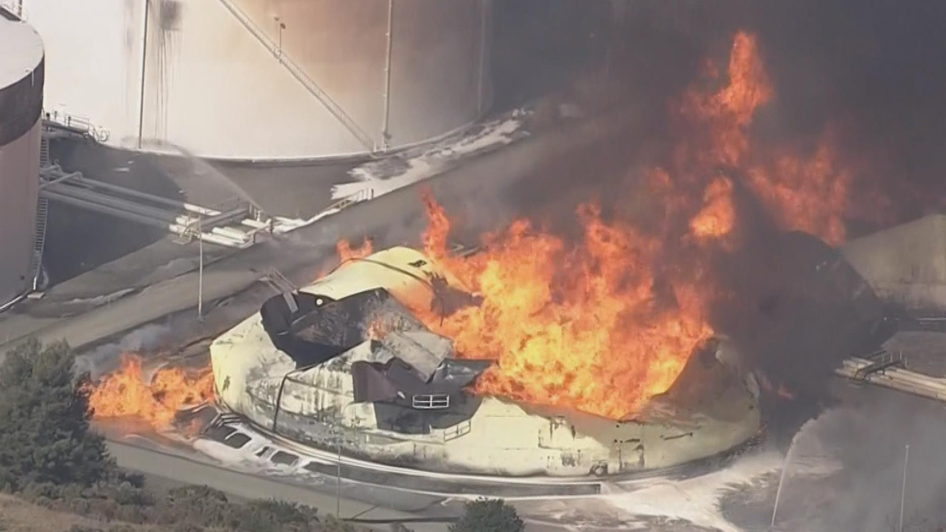 Energy tank fire contained after eight hours in Northern California