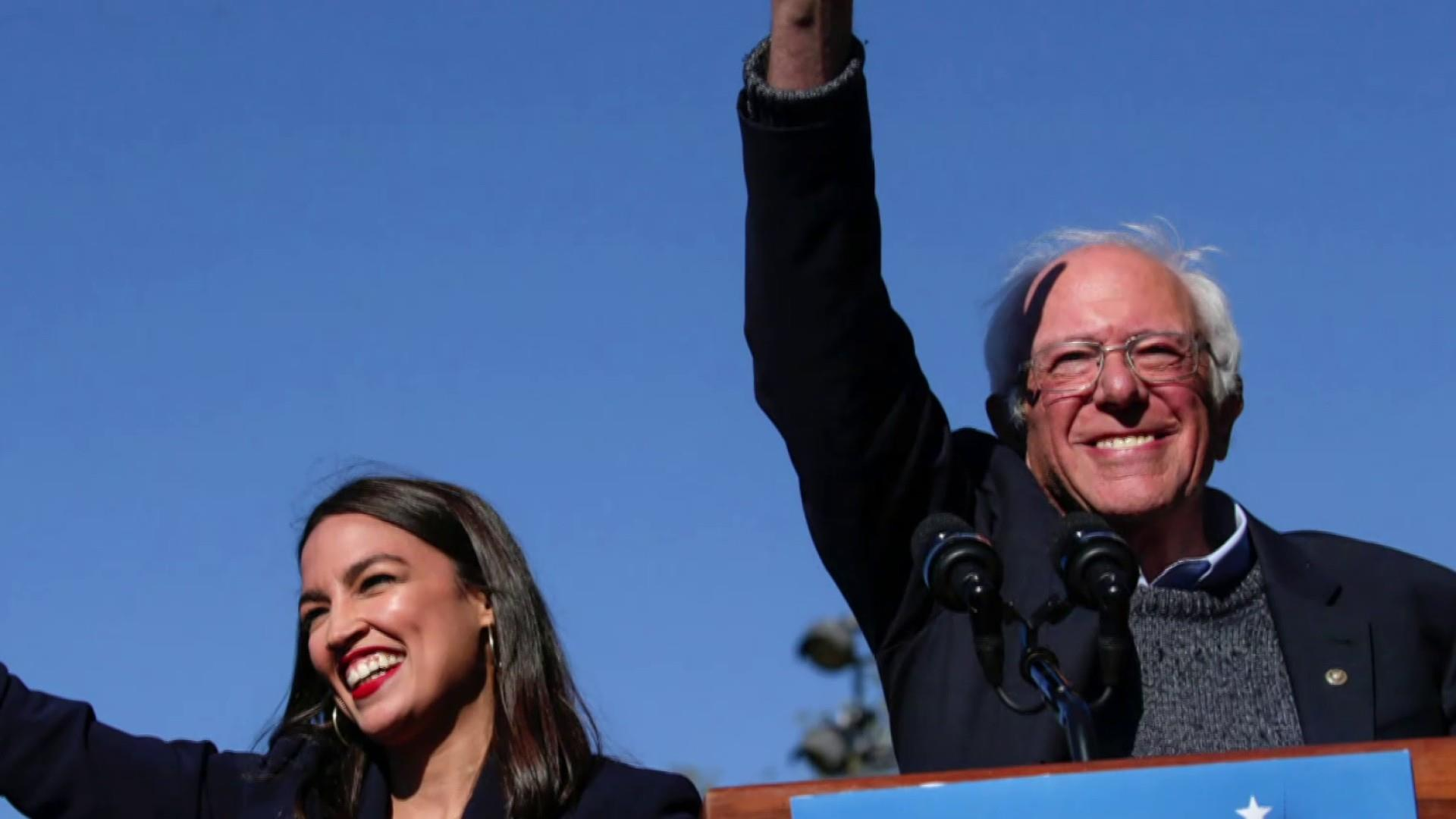 "'I am back!"" Sanders declares at campaign rally with AOC"