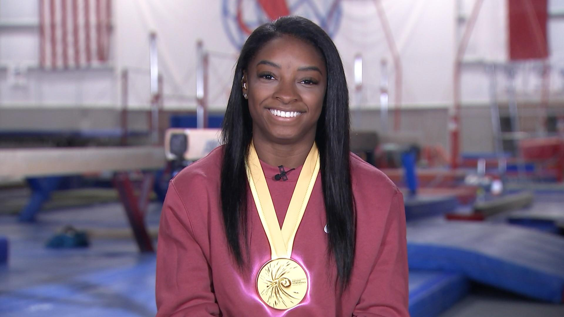 Simone Biles in 'awe' after making gymnastics history at world championships