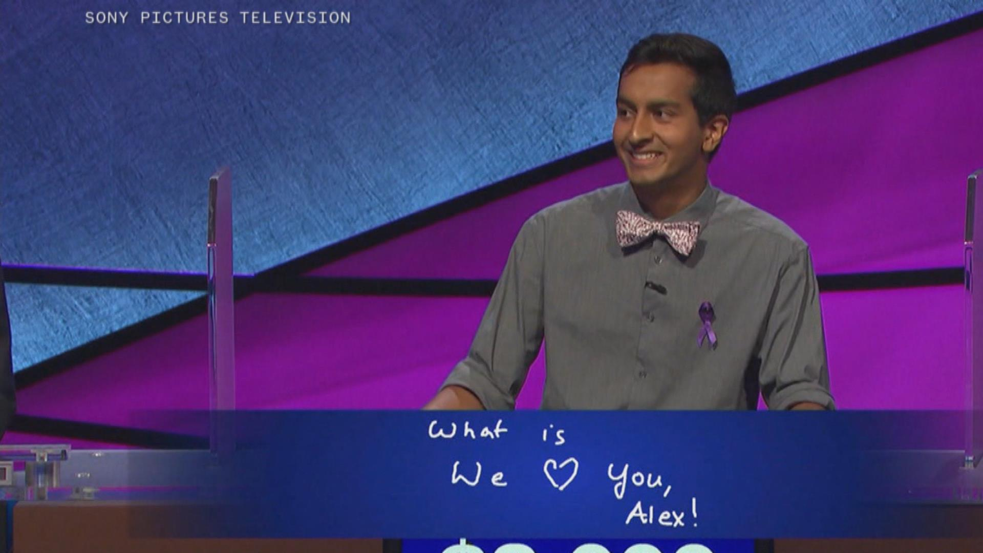 Watch Alex Trebek get emotional after contestant's sweet gesture