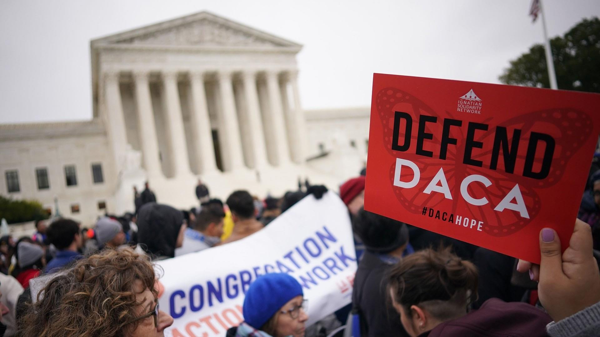 Protesters gather as Supreme Court hears arguments in DACA case