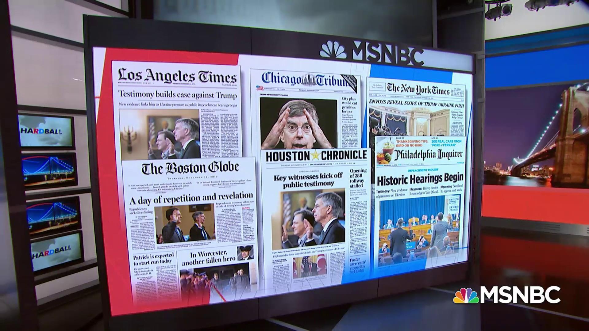 Chris Matthews: Headlines across the country show case against Trump