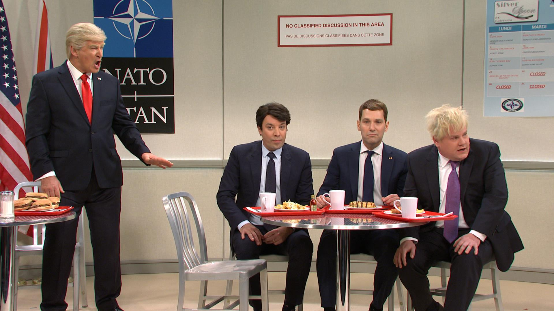 Cool kids of 'SNL' are mean to Trump in NATO lunchroom