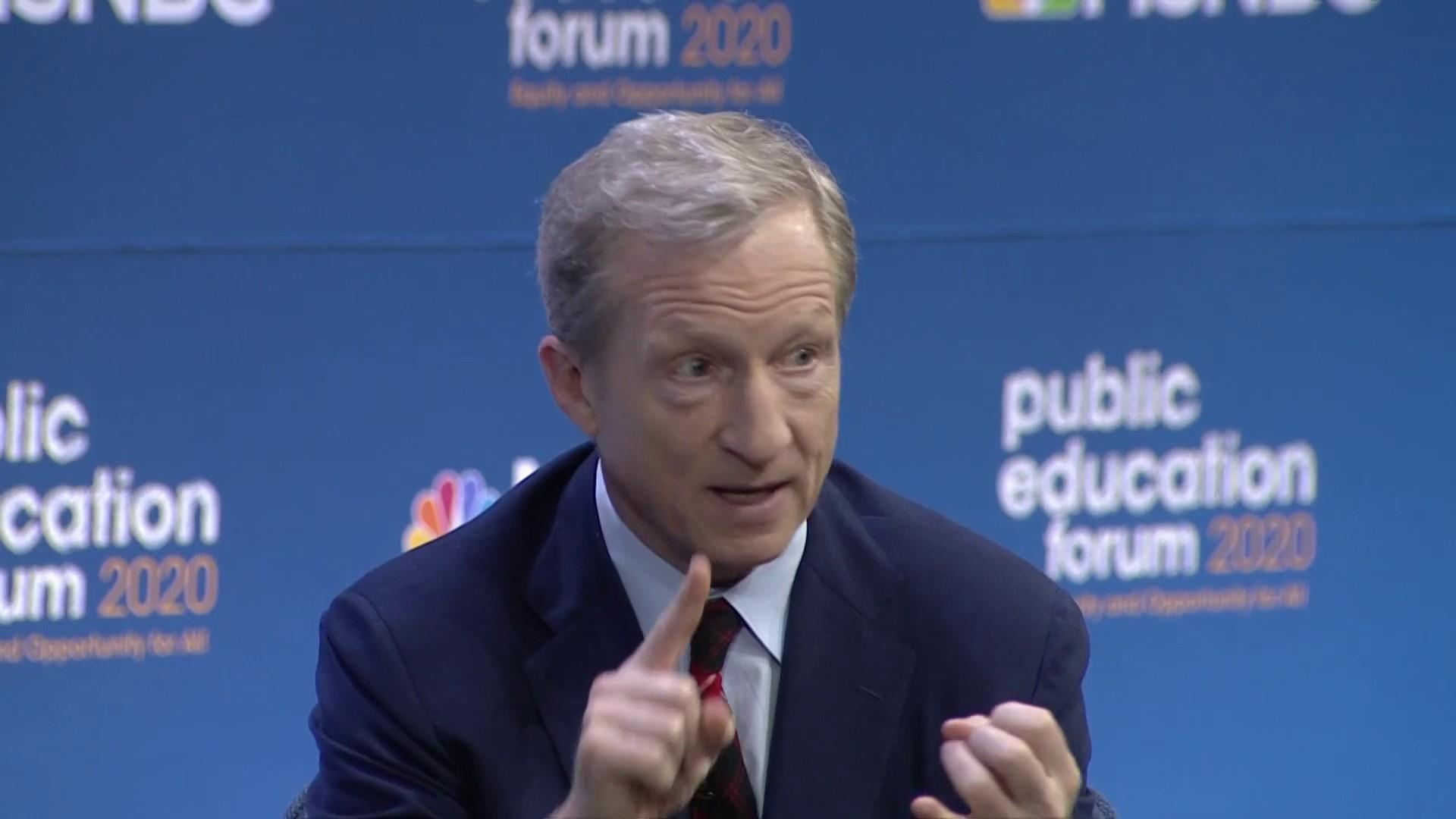 2020 candidate Tom Steyer says cutting education budgets to save money must end