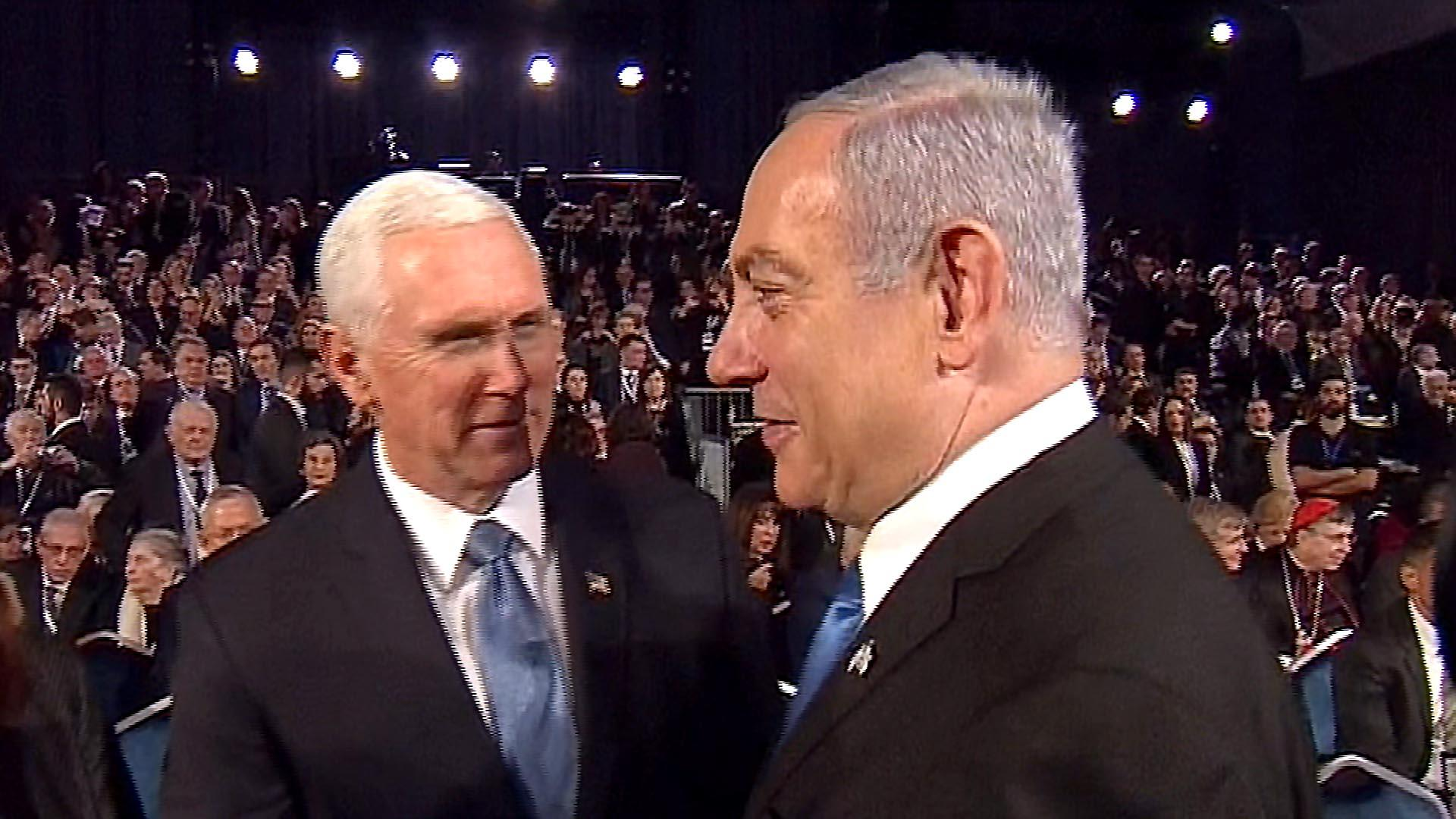 Hot mic catches Pence telling Netanyahu 'He's unstoppable'