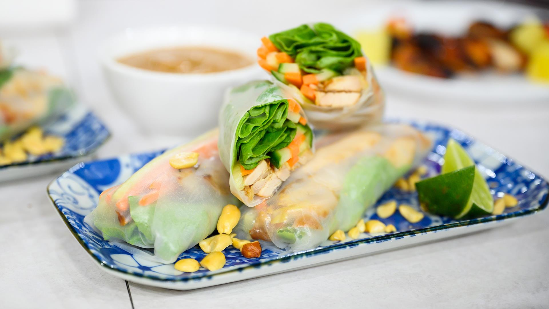 Make Ronnie Woo's Hawaiian chicken and spring rolls