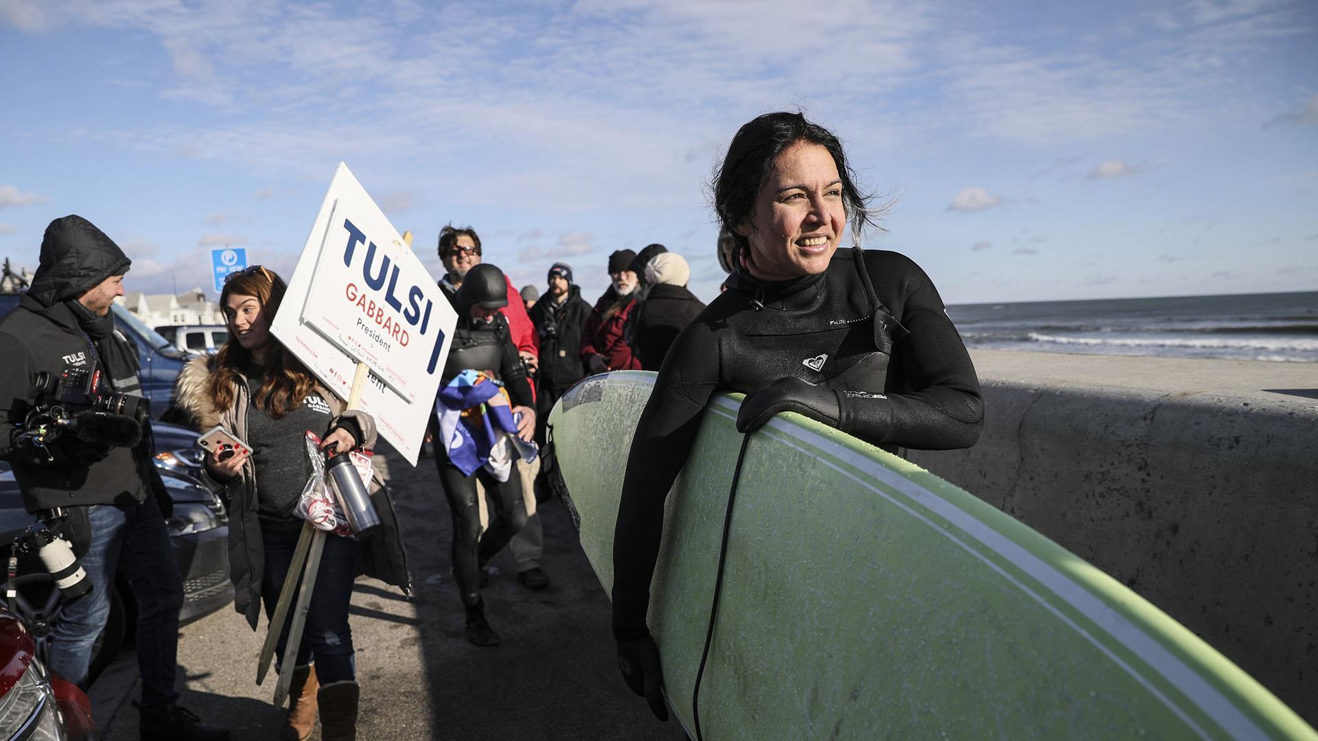Tulsi Gabbard Makes A Splash Surfing In Freezing New Hampshire