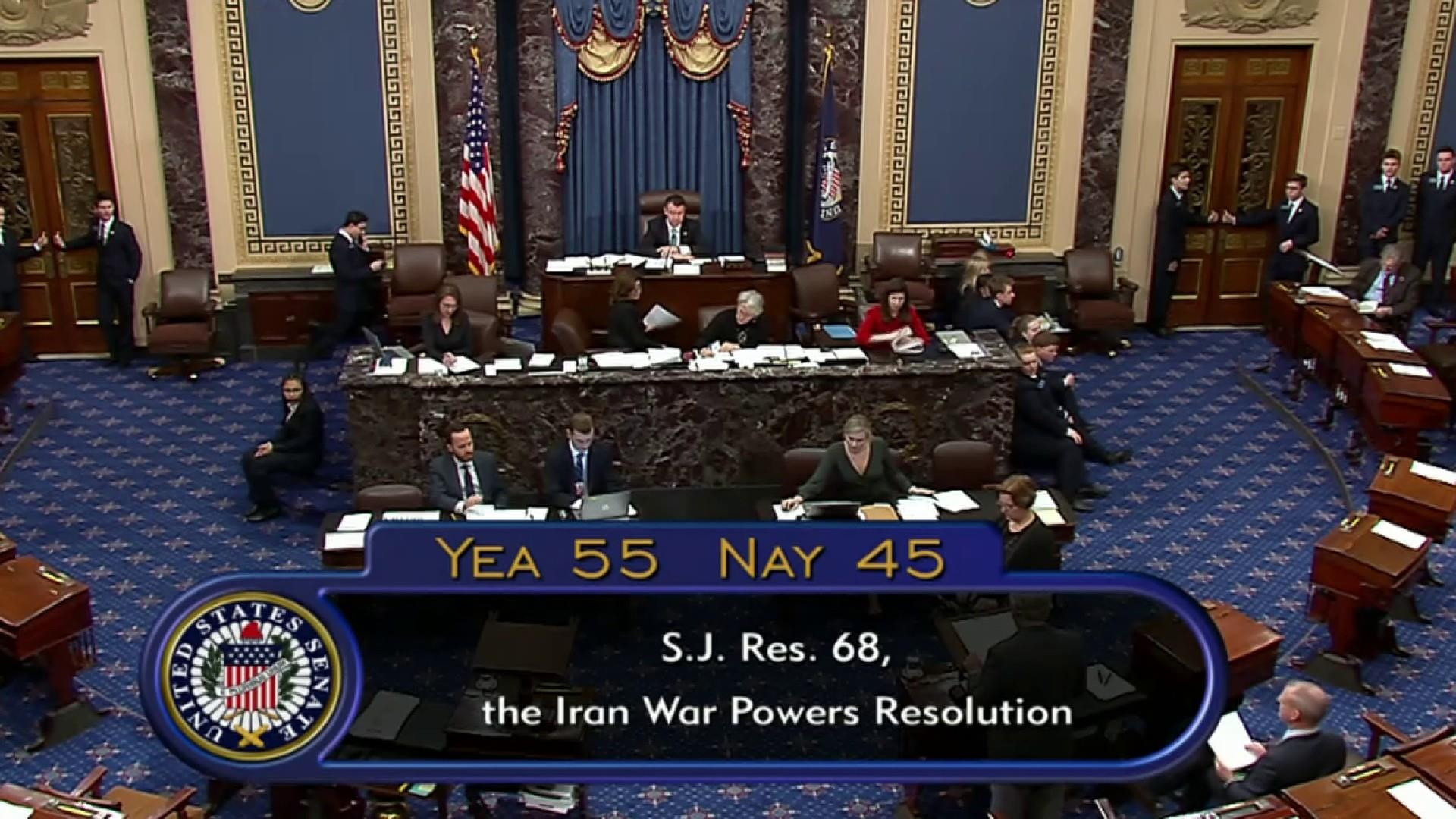 8 Senate Republicans join Democrats to pass Iran war powers resolution