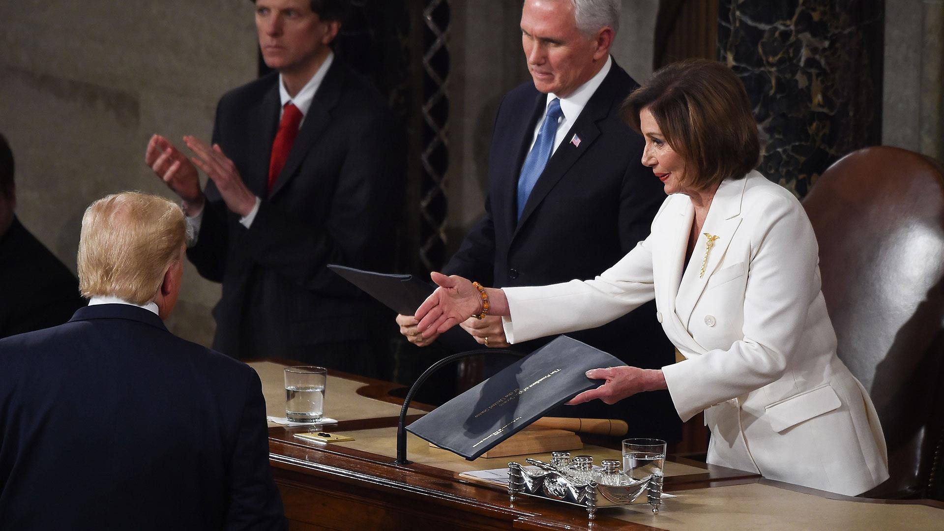 Image result for Watch: Trump appears to avoid handshake with Pelosi""
