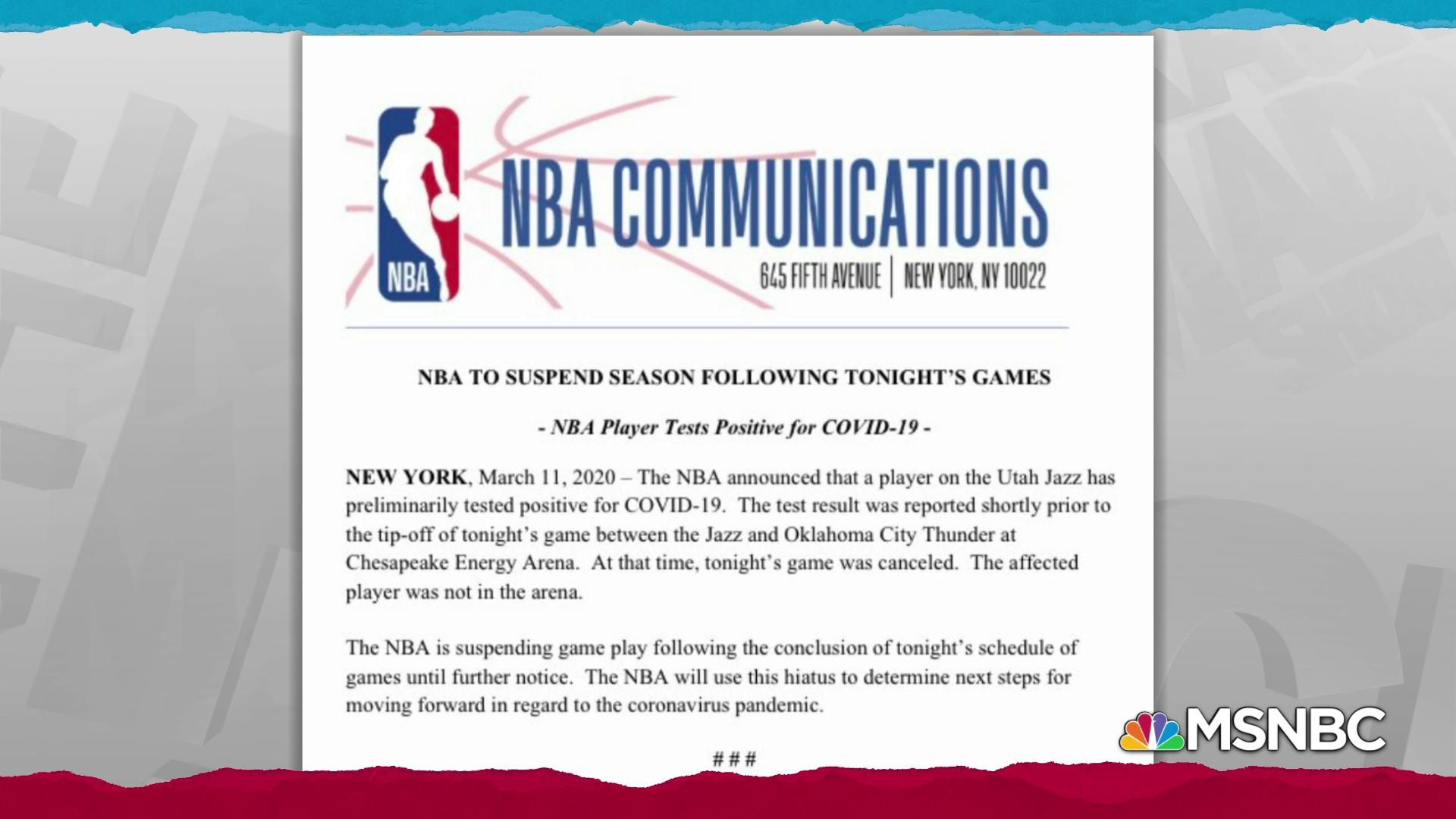 Nba Suspends All Games As Coronavirus Spreads