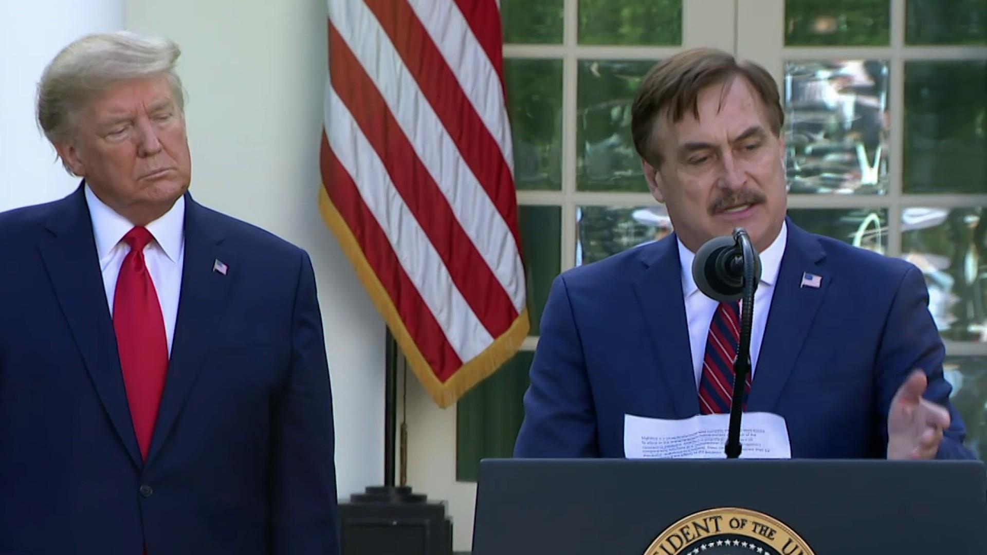 Trump Fluffs Mypillow In Rose Garden Coronavirus Talk