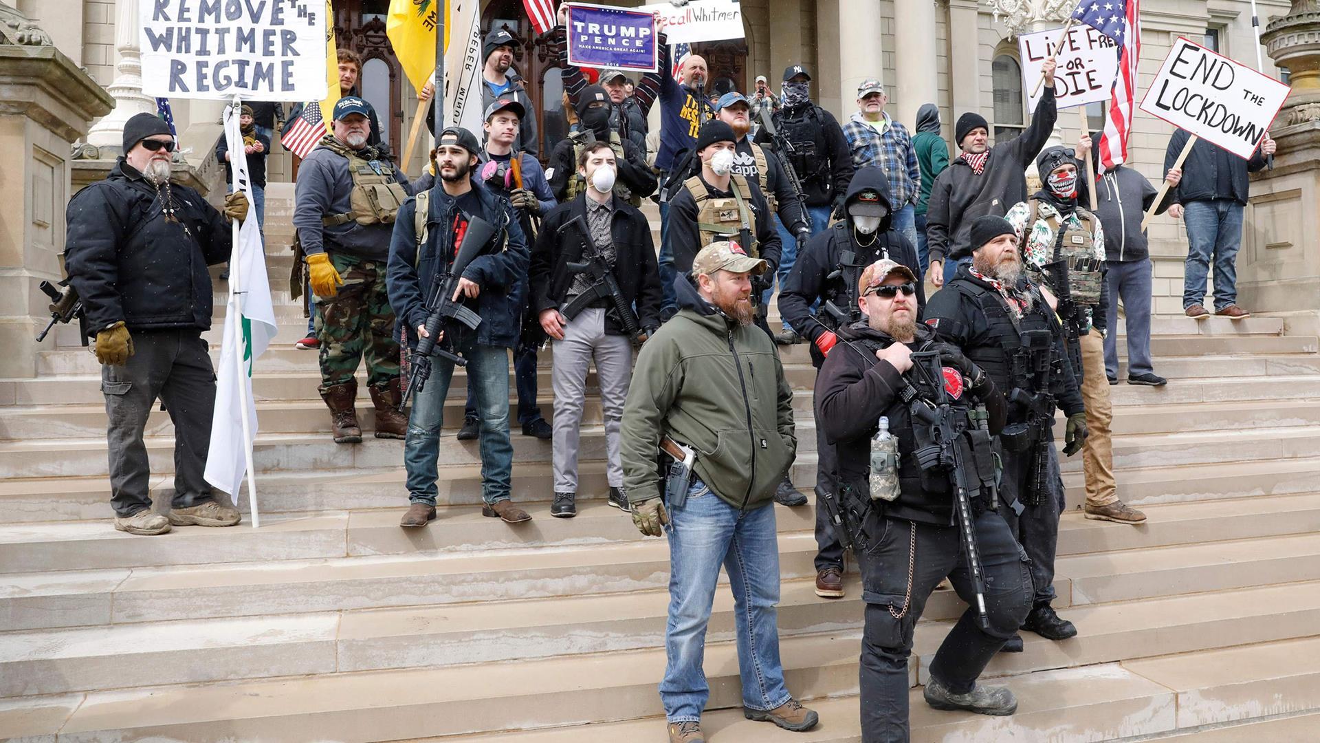 Lock Her Up Anti Whitmer Coronavirus Lockdown Protestors Swarm Michigan Capitol