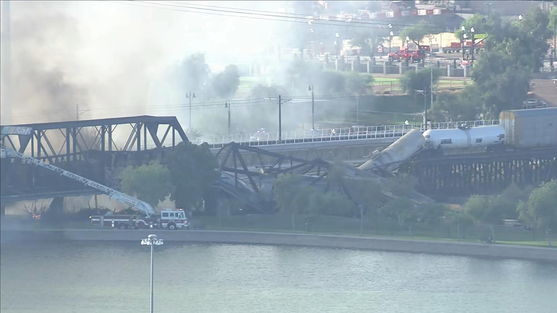 Bridge Partially Collapses Near Phoenix In Wake Of Massive Fire And Train Derailment