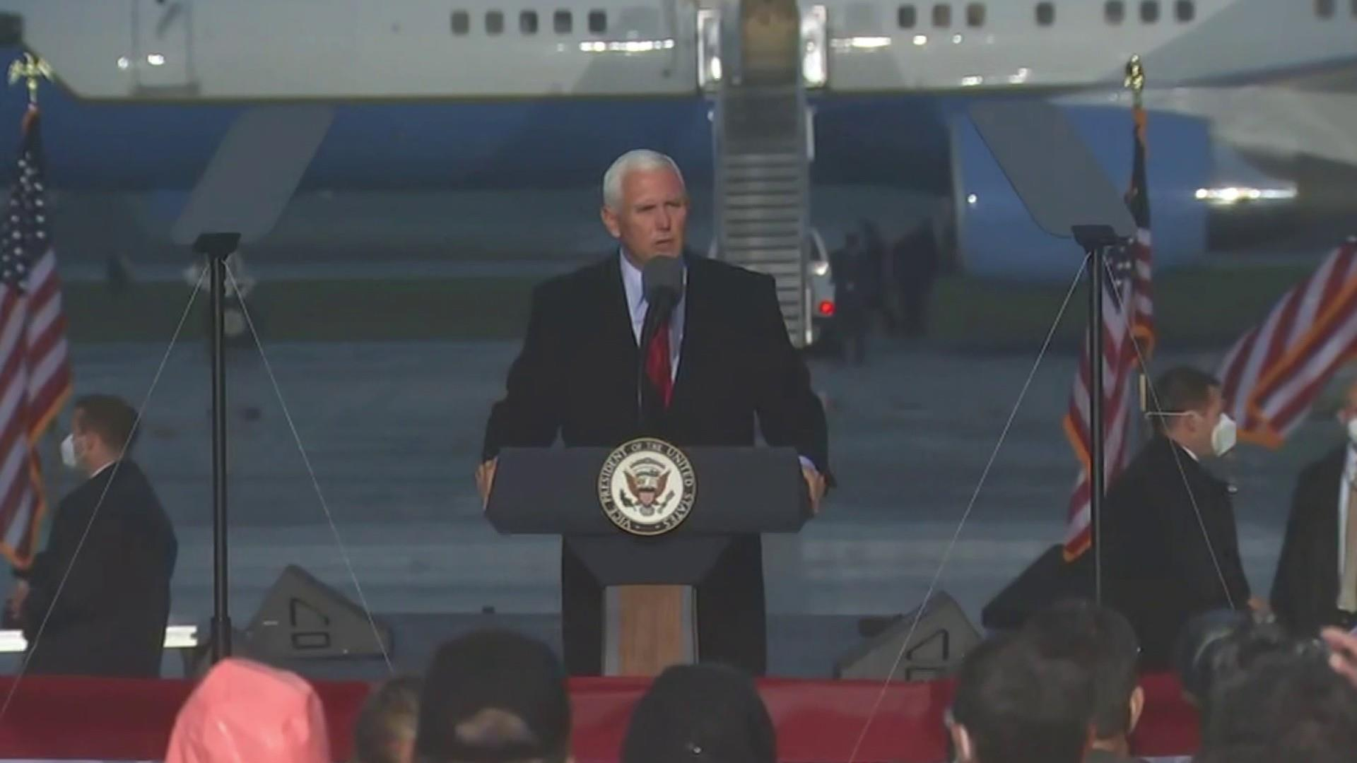 Pence on campaign trail despite COVID positive staff as cases surge across country