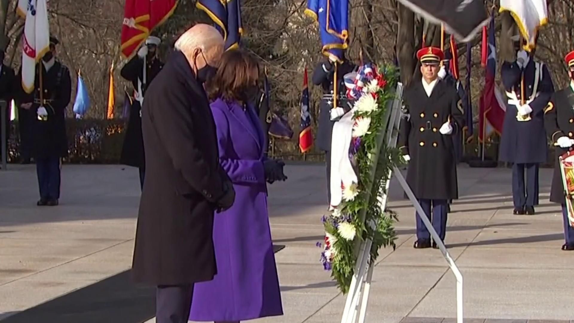 President Biden & VP Harris at the Tomb of the Unknown Soldier at Arlington National Cemetery