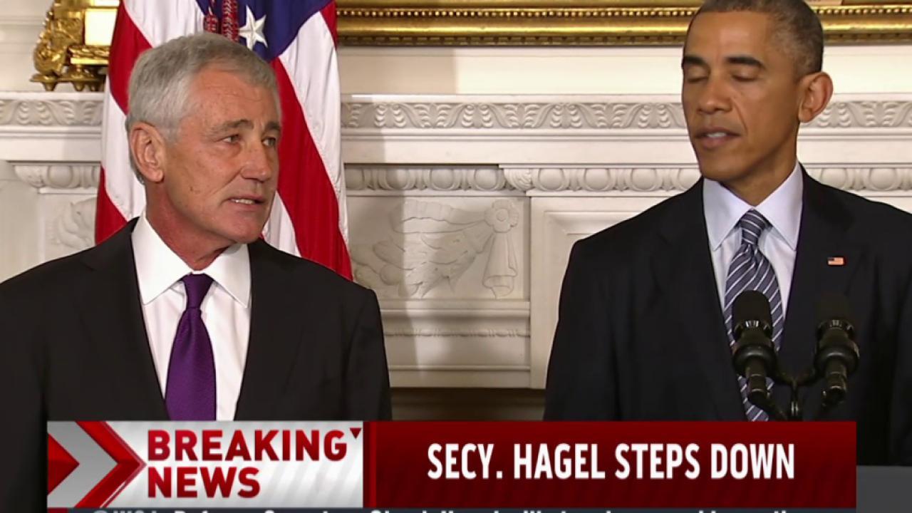 Obama thanks Hagel, praises his integrity