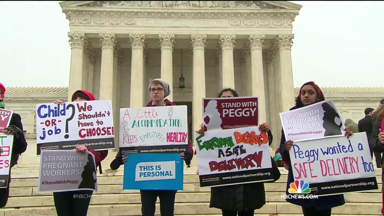 supreme court wrestles job protections for pregnant workers supreme court wrestles job protections for pregnant workers nbc news