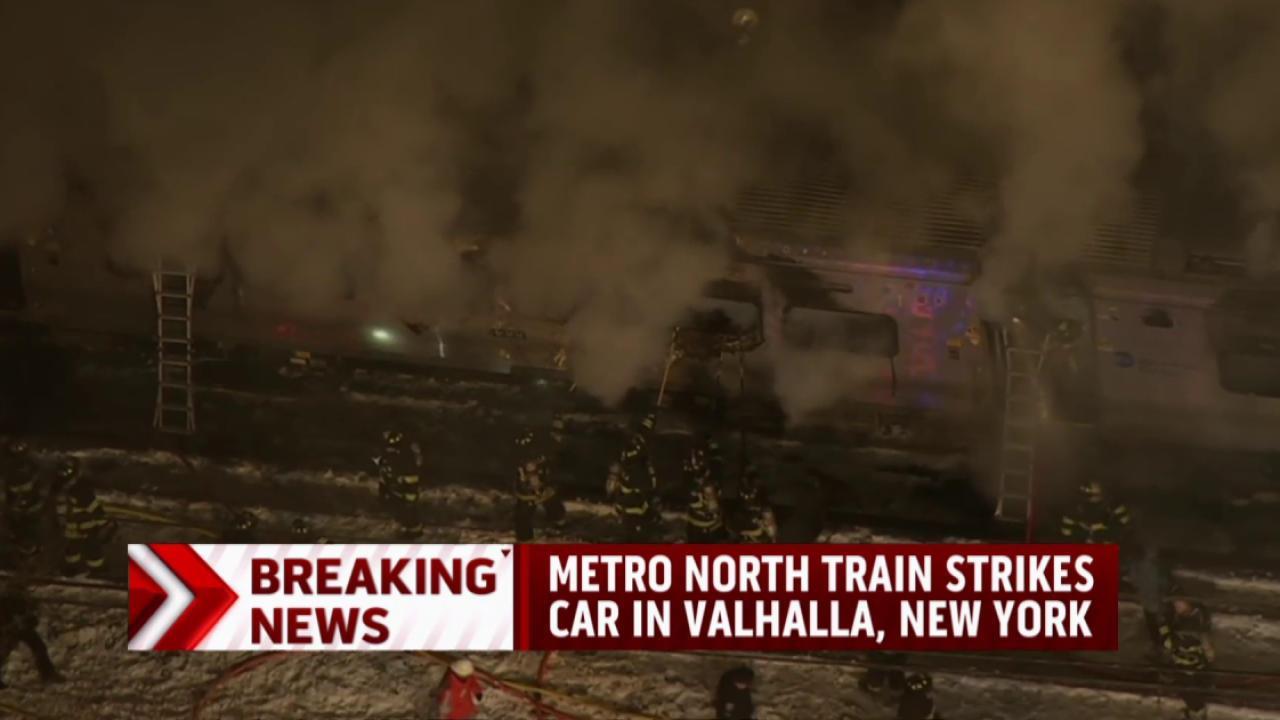 Train strikes car in New York