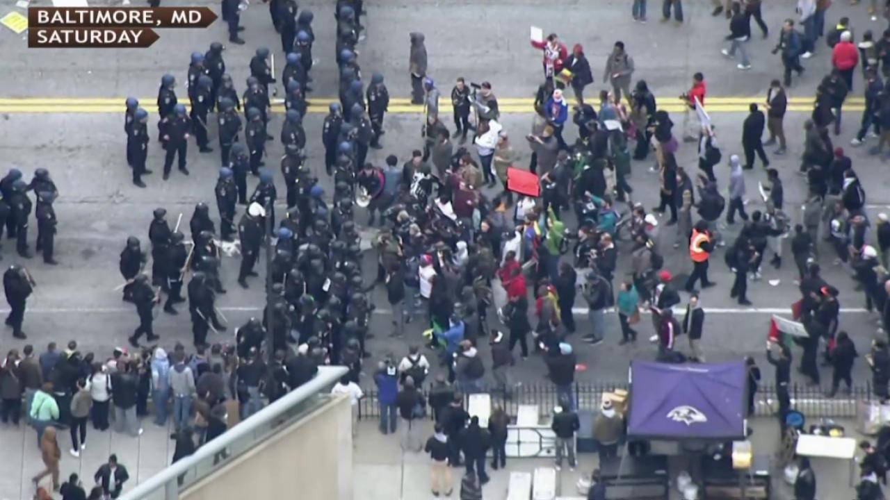 Protests in Baltimore take a turn