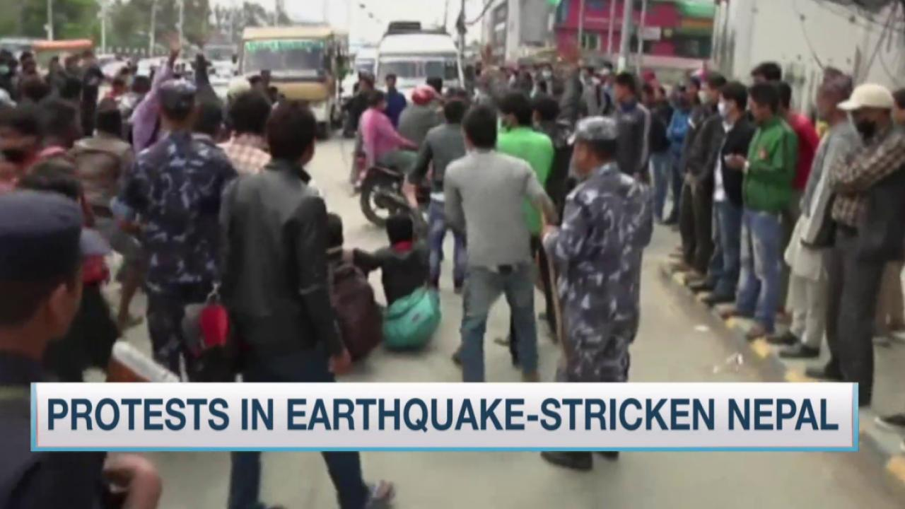 Protests in earthquake-stricken Nepal