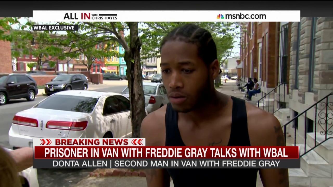 Prisoner in van with Freddie Gray speaks out