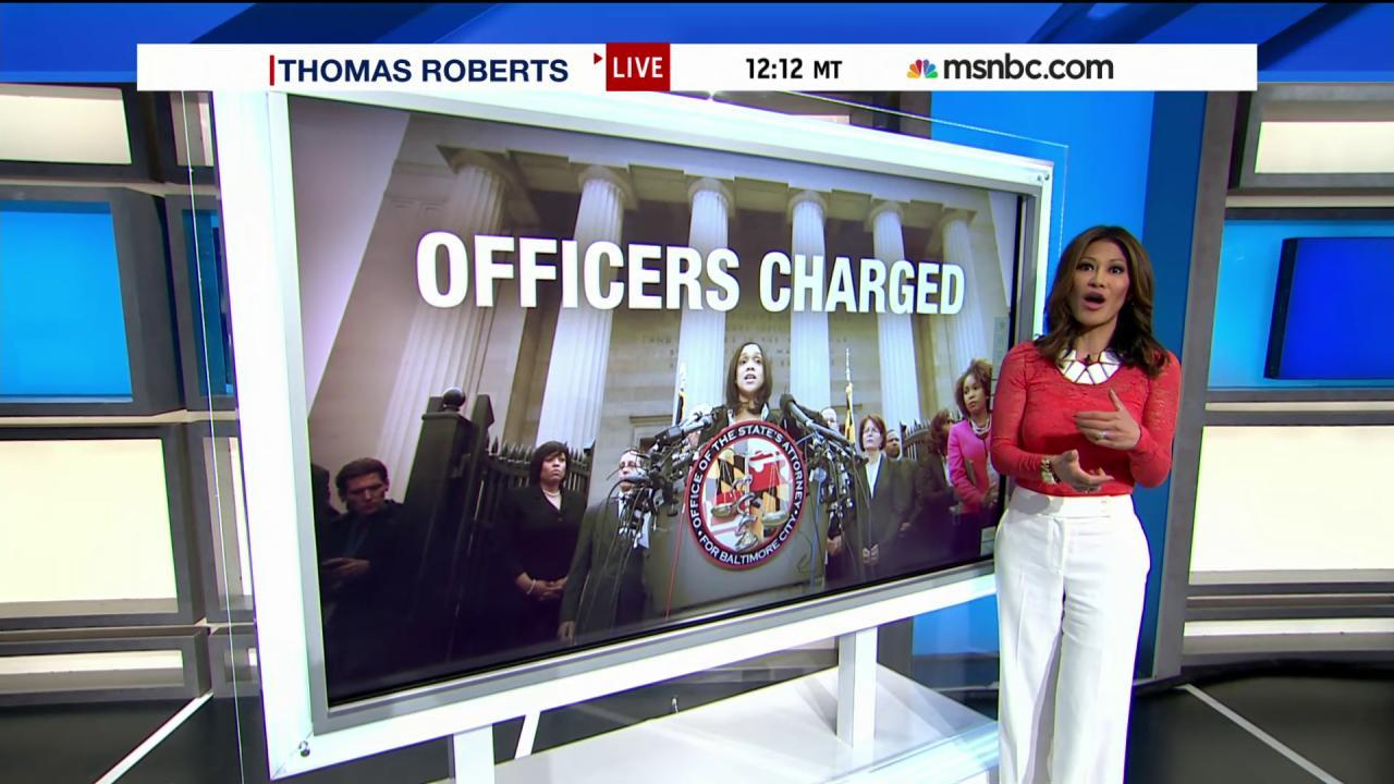 What are the charges for Baltimore officers?