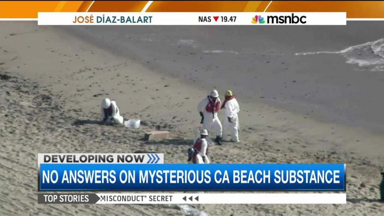 Tar-like substances wash up on Calif. Beaches
