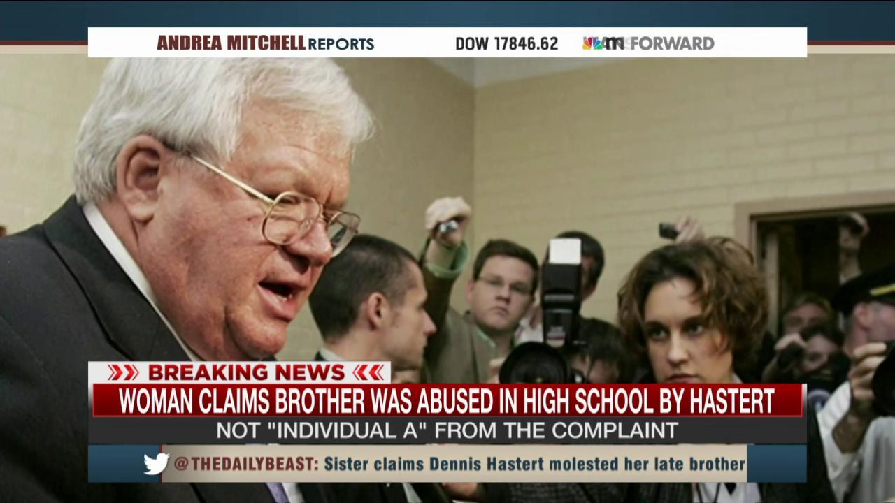 Woman claims brother was abused by Hastert