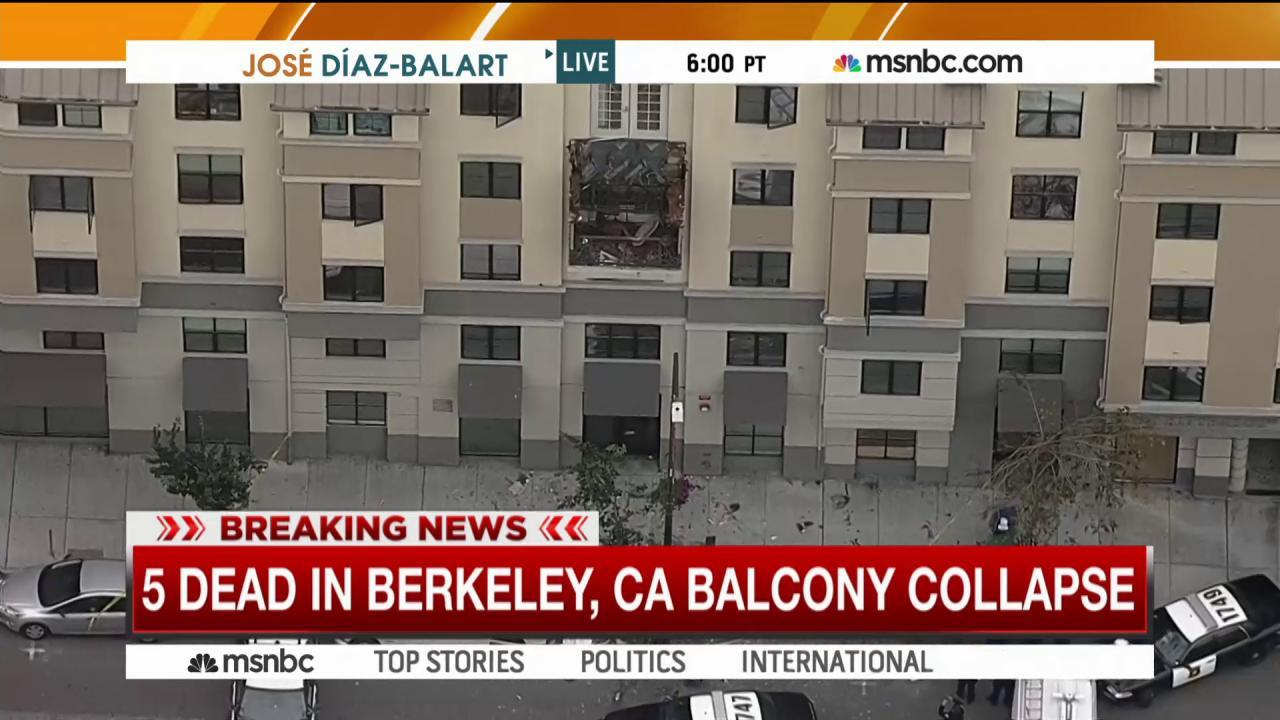 California balcony collapse kills at least 5