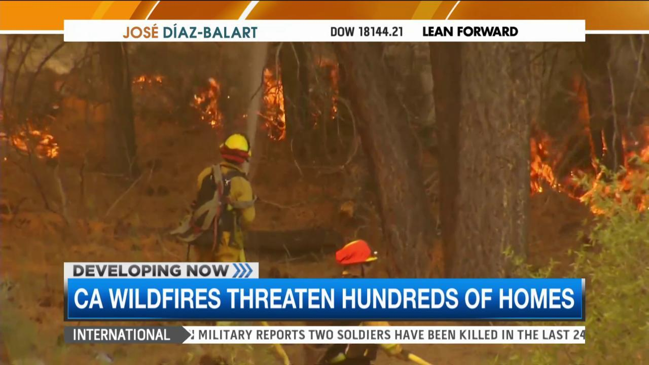 Calif. wildfires threaten hundreds of homes