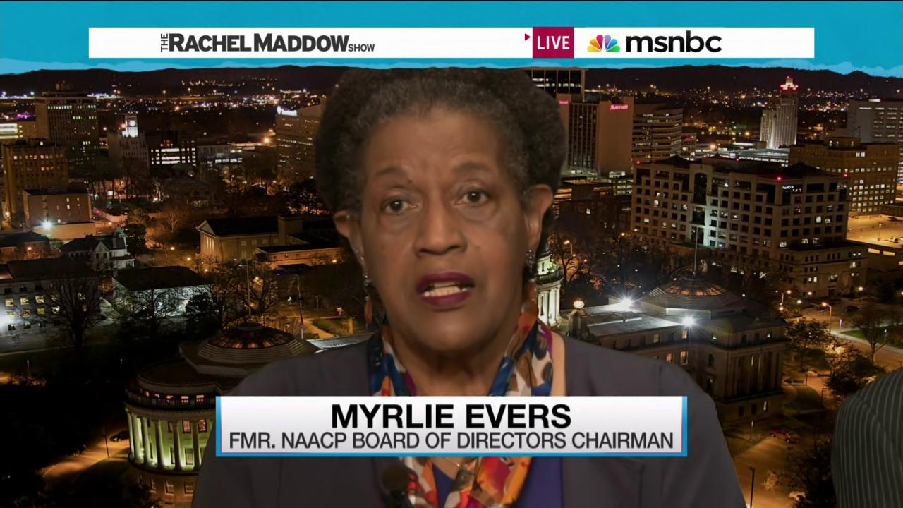 Myrlie Evers reacts to Confederate flag fight