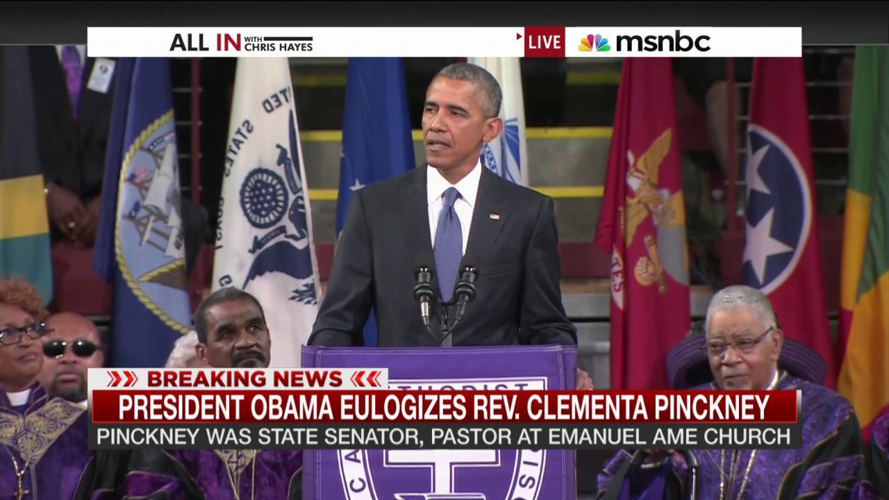 Obama brings 'Amazing Grace' to Charleston...