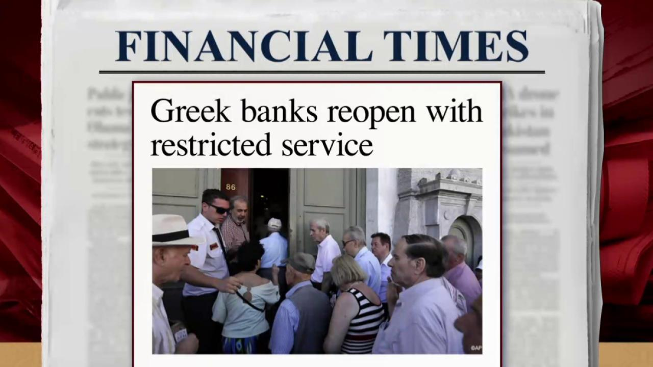 Greek banks reopen after three-week shutdown