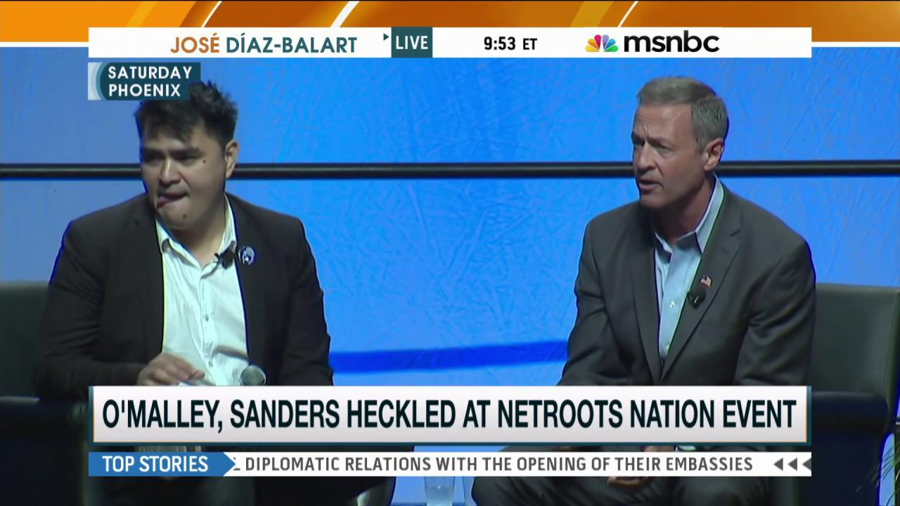 O'Malley, Sanders confronted by protesters