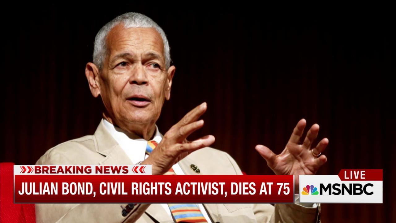 Civil rights activist Julian Bond dies at 75