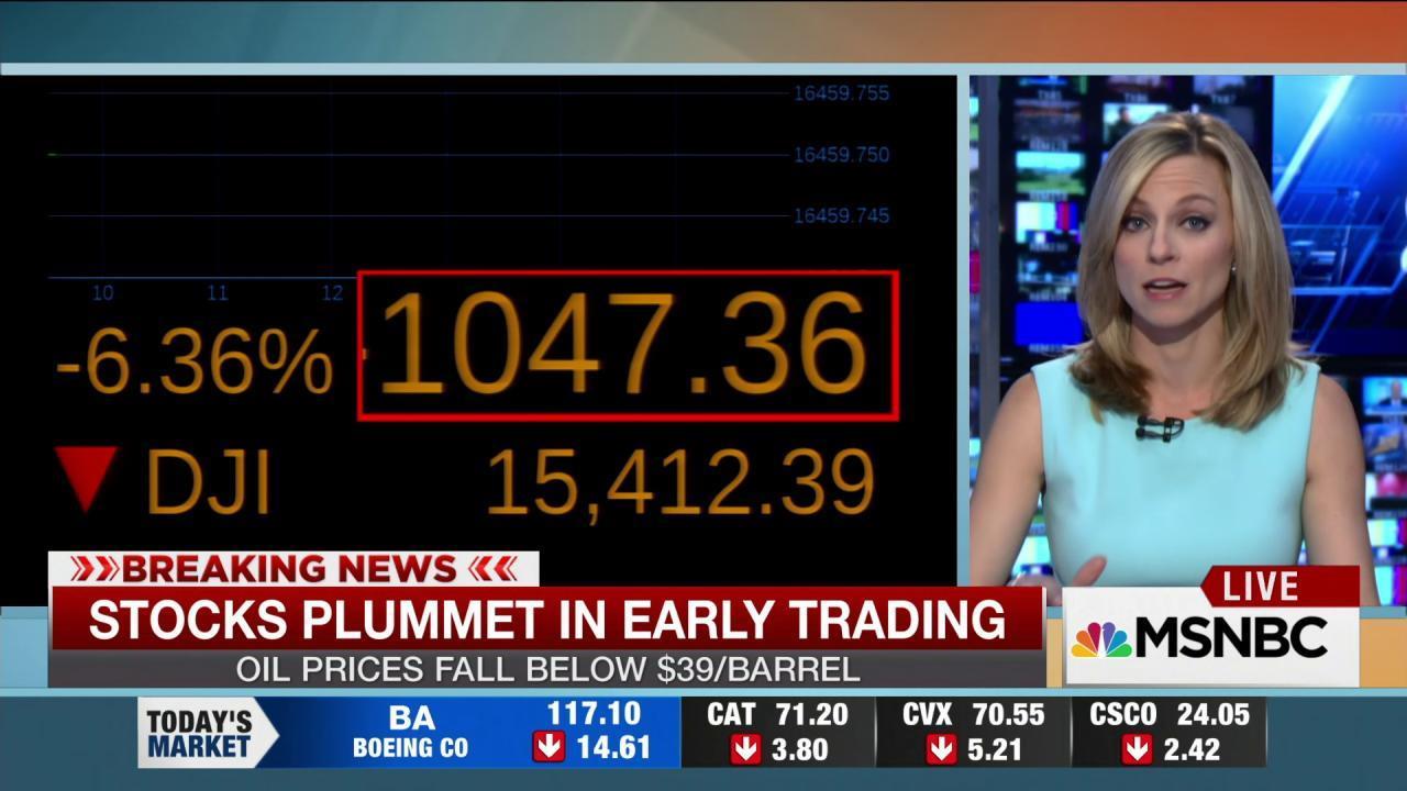 Stocks plummet in early trading