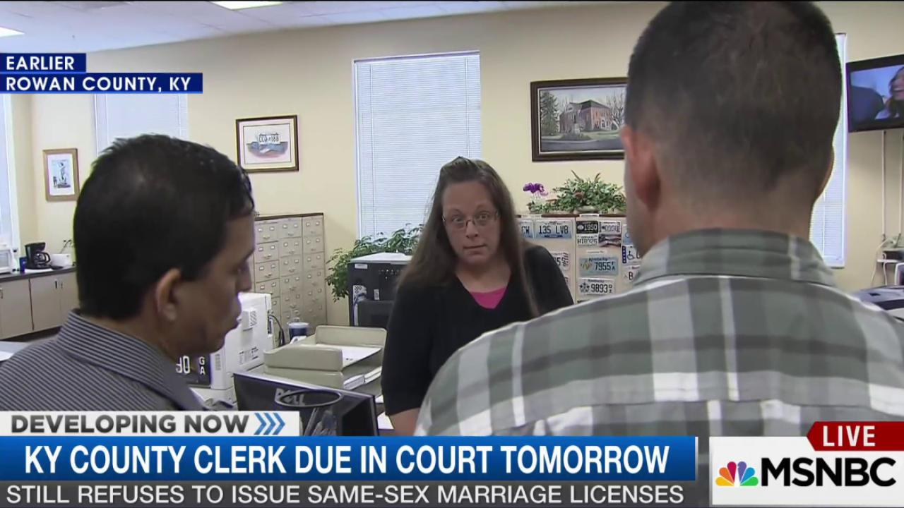 KY county clerk due in court tomorrow